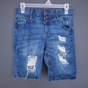 BLUENOTES Jean Shorts LONG Distressed Stretch 28